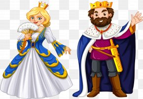Vector Hand Painted King And Queen - King Cartoon Queen Regnant Illustration PNG