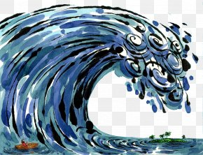 Hand Painted Illustration Tsunami - Drawing Tsunami Photography Illustration PNG