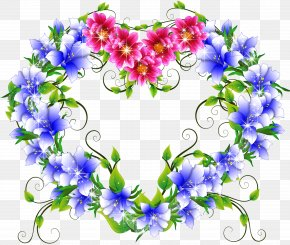 Flower Heart - Cut Flowers Heart Blue Rose PNG