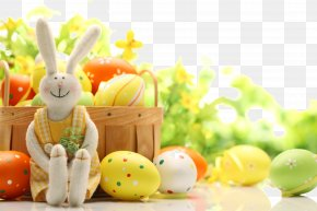 Exquisite Easter Ad Elements - Easter Bunny Easter Egg Rabbit Easter Basket PNG