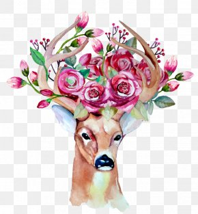 Deer - Deer Wedding Invitation Drawing Watercolor Painting PNG