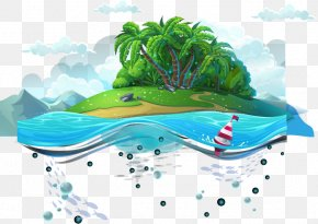 Blue Sea On The Island Of Vector Material - Organism Cartoon Sea PNG