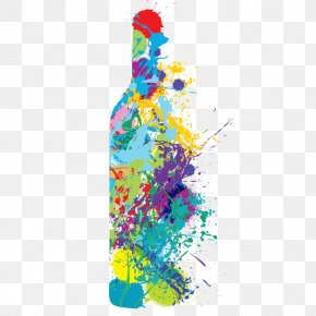 Vector Colorful Bottle - Red Wine Champagne Bottle PNG