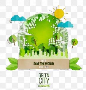 Plant World - Green Logo World Font Plant PNG