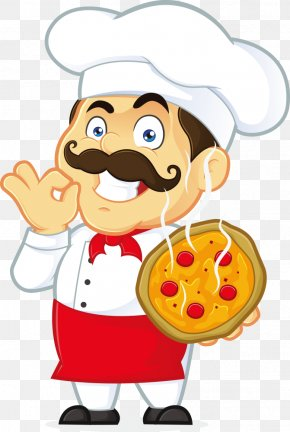 Vector Cartoon Chef And Pizza - Pizza Italian Cuisine Chef Clip Art PNG