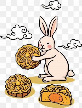 Vector Cartoon Rabbit Moon Cake - Mooncake Mid-Autumn Festival Chinese New Year PNG