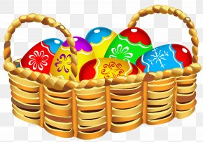 Square Basket With Easter Eggs Clipart - Easter Bunny Easter Egg Easter Basket Clip Art PNG