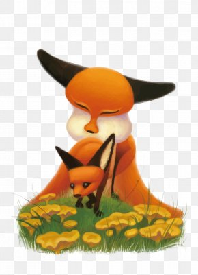 Vector Fox Mother And Son - Fox Cartoon Illustration PNG