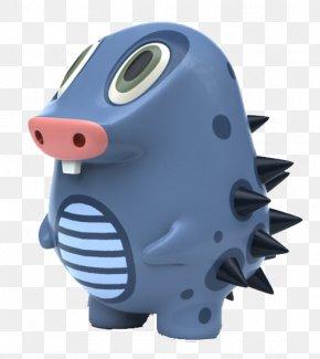 Pig Nose Sharp Blue Body-painted Dolls - Pig Nose Blue PNG