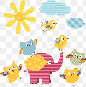 Vector Cartoon Sun And Elephants PNG