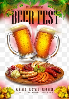 Icy Summer Beer Festival Poster - Sausage Making Hot Dog Stuffing Meat PNG