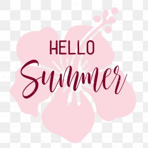 Hello Summer Pink Flowers Decorate - Clip Art PNG