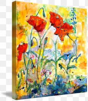 Poppies Watercolor - Floral Design Watercolor Painting Modern Art PNG