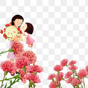 Pink, Warm Carnations, Teacher's Day - Cartoon Mothers Day Woman Illustration PNG