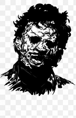 Chainsaw Horror - Black And White Leatherface Drawing Visual Arts PNG