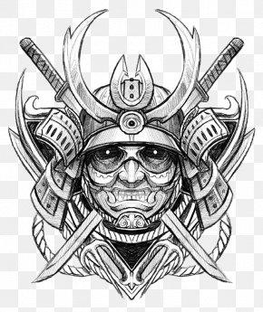 Japanese Samurai Ghost Avatar - Drawing Samurai Tattoo Sketch PNG