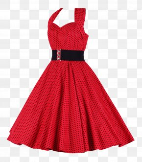 Women Dress - 1950s Dress Halterneck Clothing Polka Dot PNG