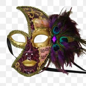 Scary Face - Mask Masquerade Ball Mardi Gras Costume Feather PNG