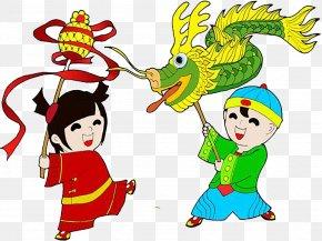 Temple Fair Dragon Dance - Dragon Dance Lion Dance Chinese New Year Cartoon PNG