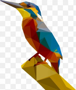 Low Poly - Kingfisher Low Poly Art PNG