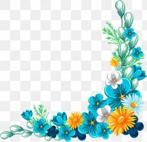 Blue Fancy Flower Border Texture - Flower Rose Clip Art PNG