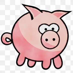 Smile Domestic Pig - Pink Cartoon Clip Art Snout Suidae PNG