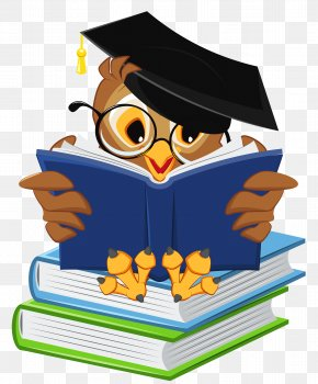 Owl With School Books Clipart Picture - Graduation Ceremony Owl Square Academic Cap Icon PNG