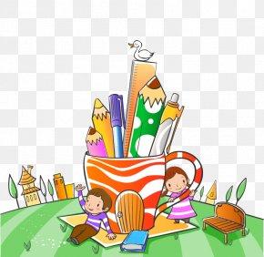 Vector Two Pen Against Children - Child School Cartoon Illustration PNG