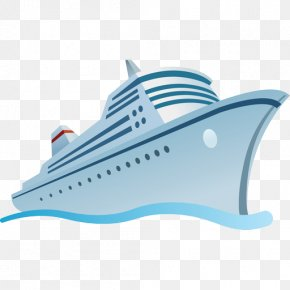 Hand-painted Blue Ship - Disney Cruise Line Cruise Ship Clip Art PNG