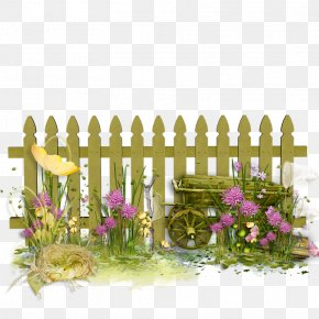 Garden Cartoon Flower Garden - Fence Pickets Flower Garden Clip Art PNG