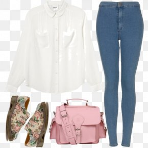 White Shirt With - Jeans Shirt Handbag Clothing PNG