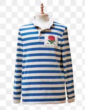 T-shirt - T-shirt Blue Collar Sleeve Rugby Shirt PNG