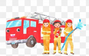 Firefighters And Cars - Firefighter Fire Engine Car PNG