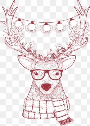 Christmas Vector Simple Pencil Christmas Deer - Reindeer Christmas PNG