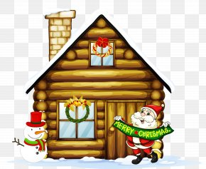 Transparent Christmas House With Santa And Snowman Clipart PNG