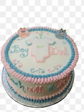 Cake - Buttercream Sugar Cake Gender Reveal Torte Birthday Cake PNG
