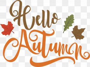 Romantic Handwriting, Hello Autumn Art Word - Autumn Handwriting Computer File PNG