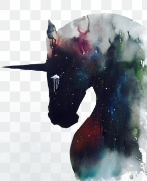 Drawing Silhouette Unicorn - The Black Unicorn We Heart It PNG