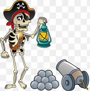 Cartoon Skull - Cartoon Piracy Illustration PNG