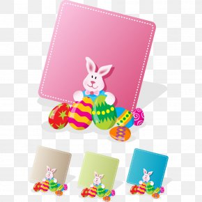 Easter Cartoon Image Vector Material - Easter Bunny Easter Egg Greeting Card Rabbit PNG