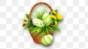 The Basket Of Eggs And Flowers - Easter Bunny Easter Basket Clip Art PNG