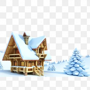 Winter Scenery - Gingerbread House Santa Claus Christmas New Year's Day PNG