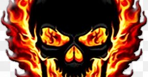 Flame - Cool Flame Skull And Crossbones Drawing PNG