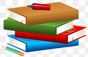 Books With Pencil And Marker Clipart Image - School Textbook Clip Art PNG