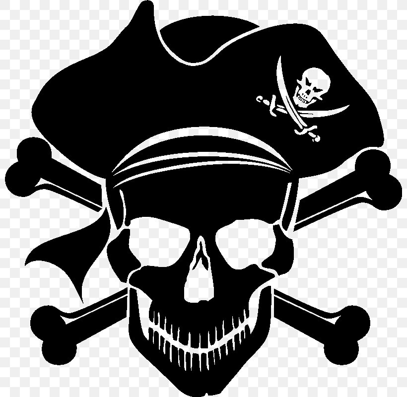 Piracy Skull And Crossbones Jolly Roger Clip Art, PNG, 800x800px, Piracy, Black, Black And White, Bone, Decal Download Free