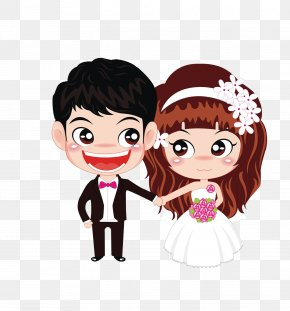 Cartoon Bride And Groom - Marriage Couple Wedding Engagement Love PNG