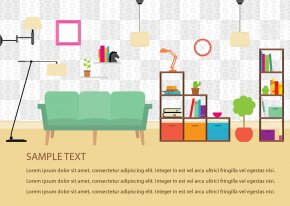 Vector Table Lamp Living Room Bookshelf - House Furniture Room Interior Design Services PNG