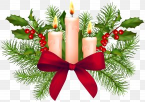 Christmas Candles Transparent Clip Art - Christmas Ornament Santa Claus Clip Art PNG