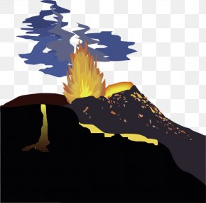 Vector Cartoon Volcano Eruption - Volcano Ejecta Volcanic Crater Euclidean Vector PNG