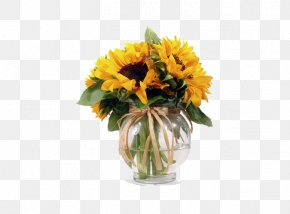 Bouquet Of Yellow Flowers - Common Sunflower Flower Bouquet Vase Tulip PNG